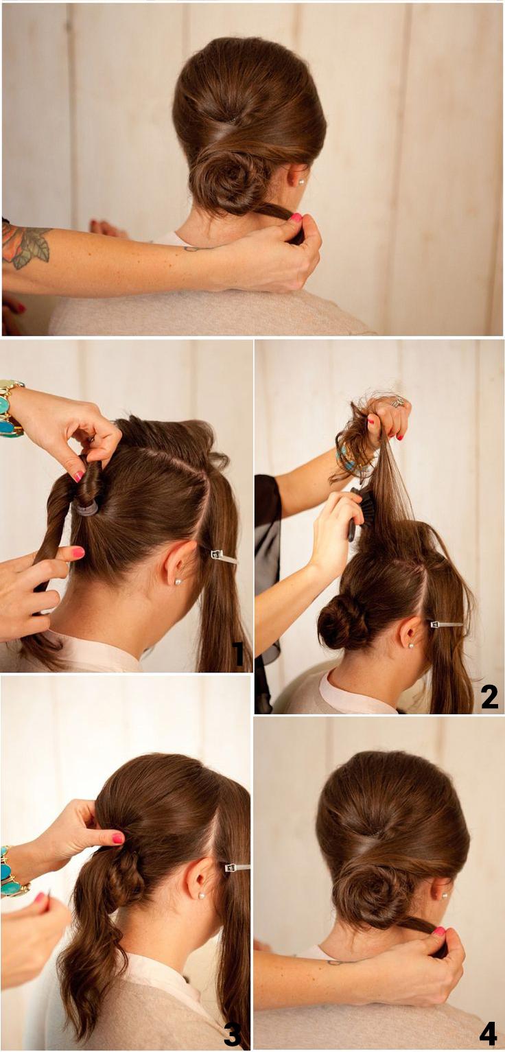 Rose Bun Step By Step Hairstyle Tutorial Hair Tutorial Step By Step Hairstyles Rose Bun