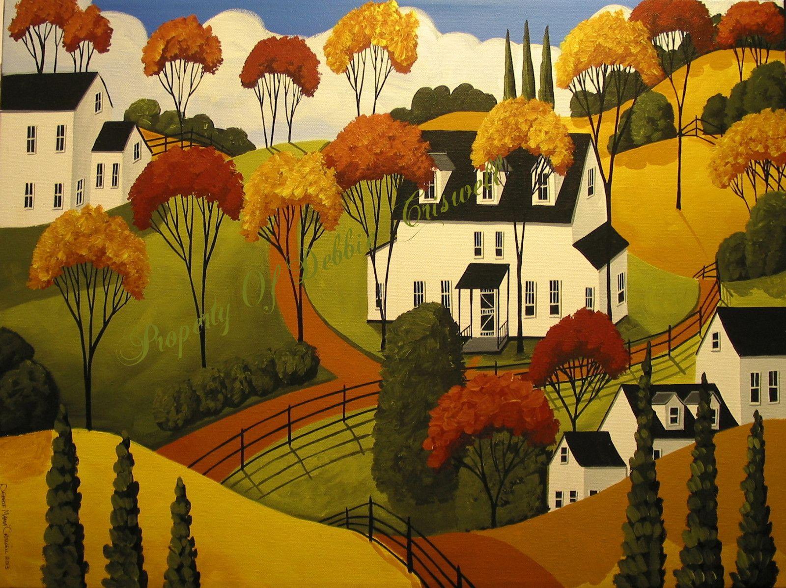 Original Painting Folk Art Naive Primitive Country Autumn Fall ...