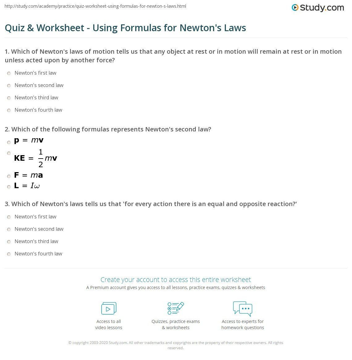Newton Laws Worksheet Answers Quiz Amp Worksheet Using