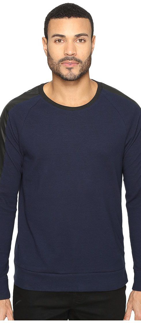 Kenneth Cole Sportswear Texture Crew with Nylon (Indigo) Men's Clothing - Kenneth Cole Sportswear, Texture Crew with Nylon, MMH62KL03-482, Apparel Top General, Top, Top, Apparel, Clothes Clothing, Gift, - Fashion Ideas To Inspire