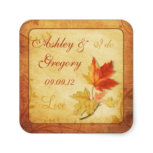 Fall Leaves Wedding Sticker or Envelope Seal #Wedding Invitation Collections | #Shop Wedding Invitations, #Save the Dates, #timelesstreasure