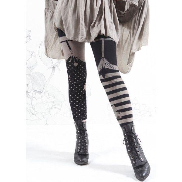 Garter Leggings Thigh High Leggings Striped Tights Womens Pants Capris... (310 SEK) ❤ liked on Polyvore featuring pants, leggings, leggings capri, suspender leggings, knit leggings, convertible pants and stretch leggings