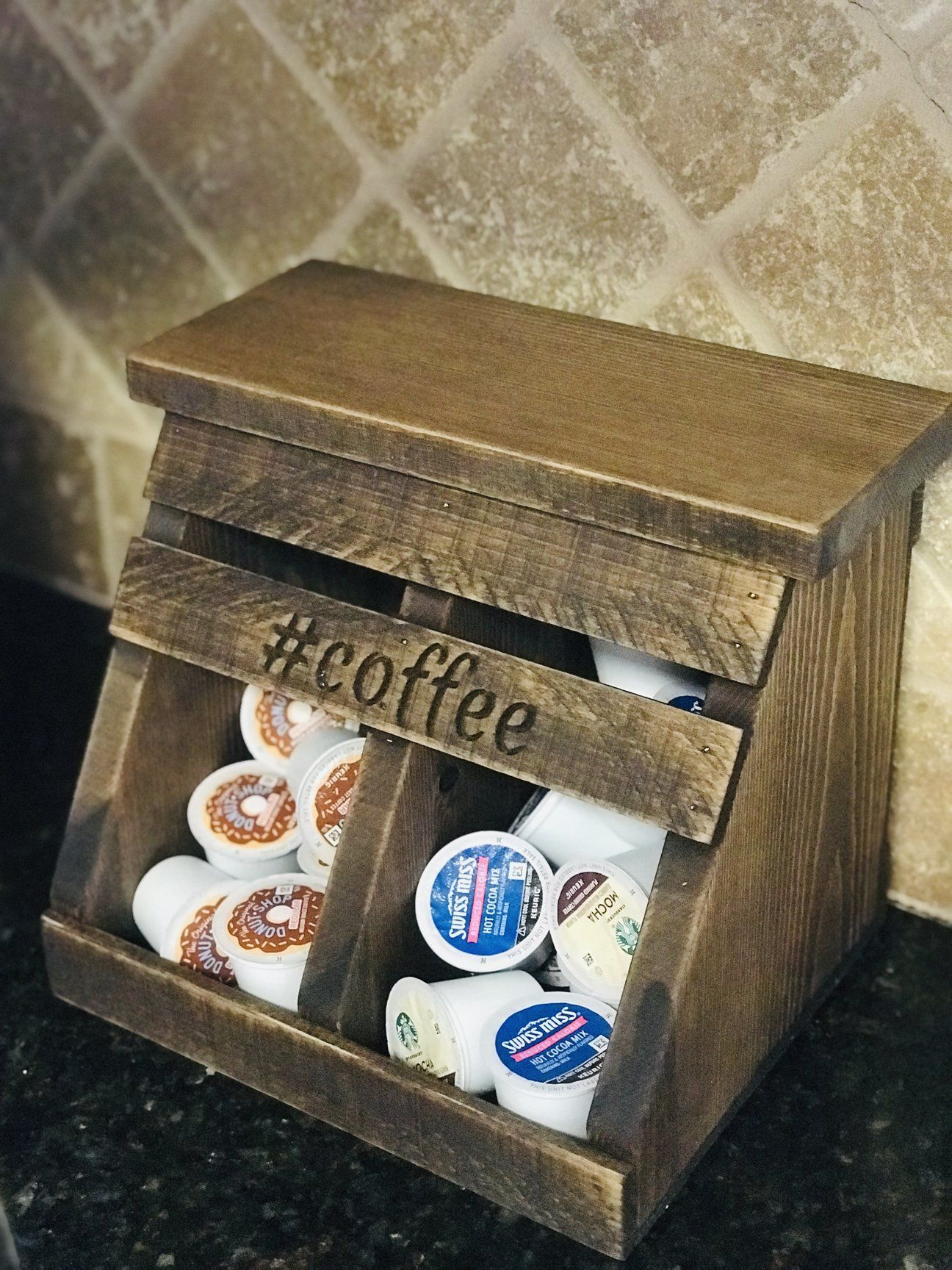 Monogrammed K Cup Storage Bin With Two Sections This Farmhouse Coffee Bin Will Add To Your Rustic Decor Bu Coffee Storage Home Coffee Stations Coffee Station