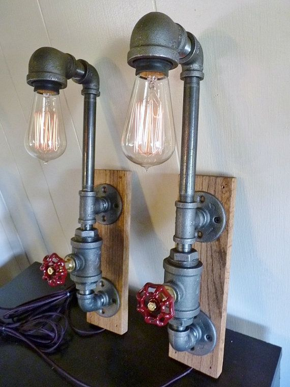 Photo of Items similar to FAUCET HANDLE DIMMER! Pair of wall lamps sconces, black iron pipe, oak mount, water faucet handle dimmers, edison bulbs, 9 ft. cloth cords! on Etsy