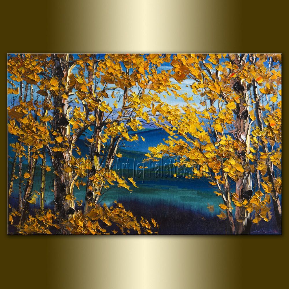 Custom Original Autumn Birch Tree Forest Textured Palette Knife Landscape Painting Oil On Canvas Seasons By Willson Forest Painting Landscape Paintings Landscape Art