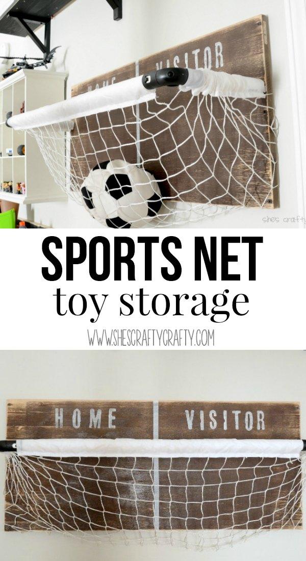 Boys Room: sports net toy storage