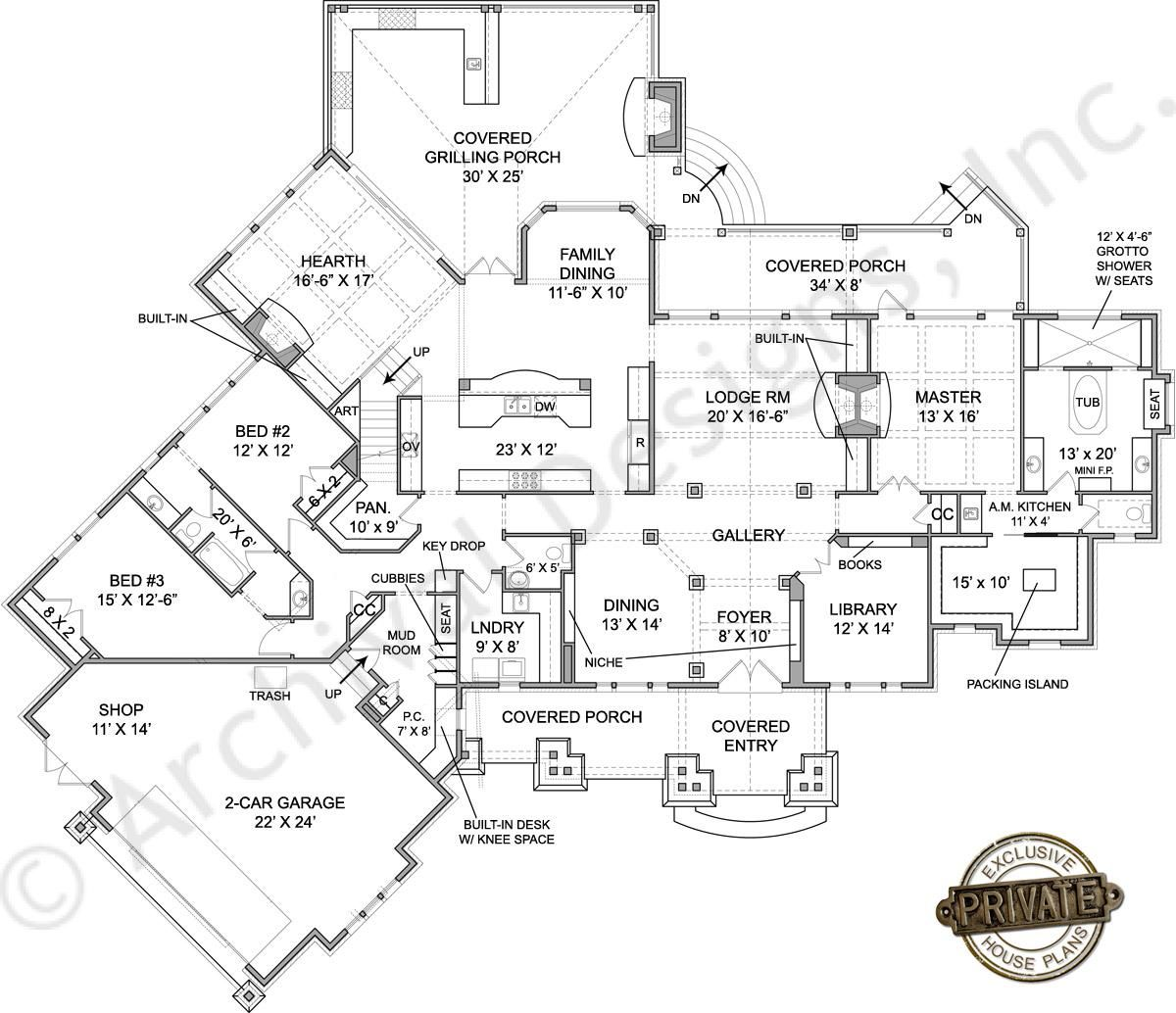 amicalola river lodge cottage house plan first floor plan