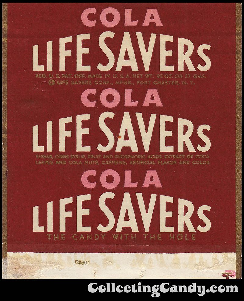 Life Savers Corp Life Savers Cola Roll Candy Wrapper 1940s