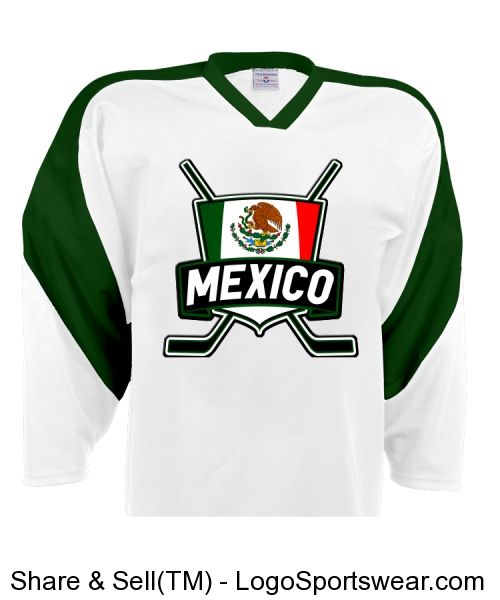 Mexico Ice Hockey Jersey with Mexican flag logo  9413537cf3d