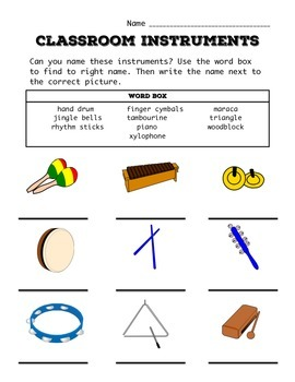 Instrument Worksheet Bundle K-5 | Sunshine and Music | Music ...