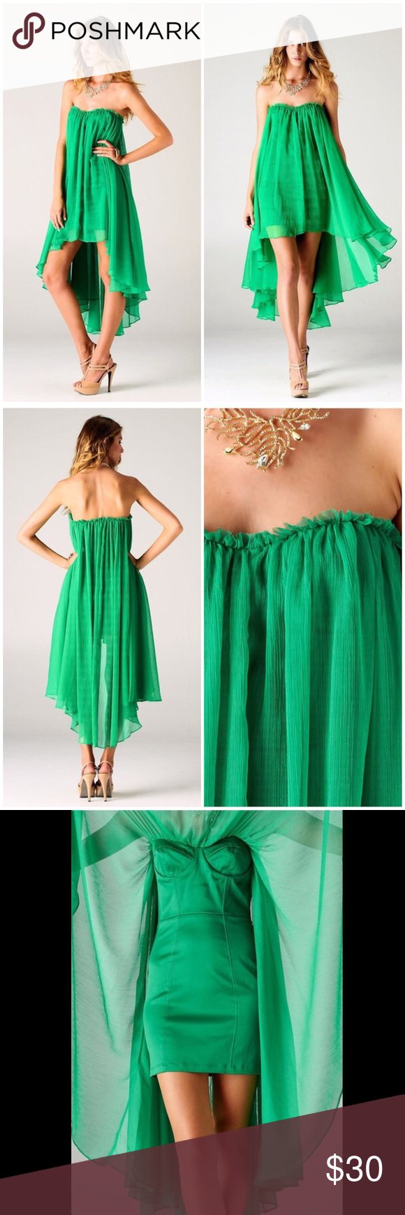 ea4628c9eac Blaque Label chiffon high-low dress Stunning emerald green - one of the  hardest colors
