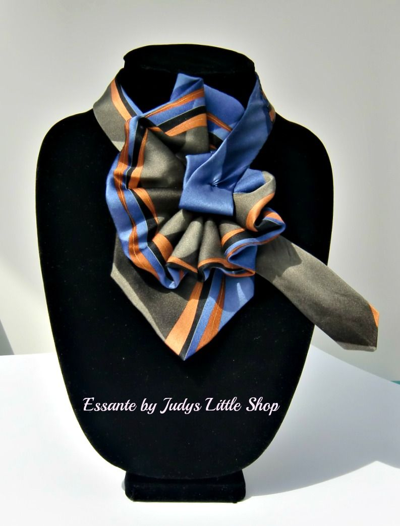 Ladies necktie scarf, made from a gentlemans tie by Essante.