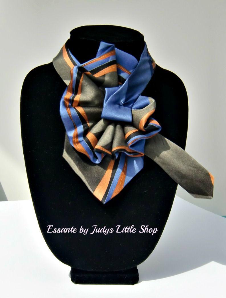 Ladies necktie scarf, made from a gentlemans tie by Essante.