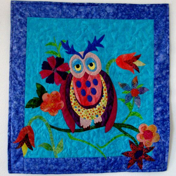 Sleepy Time Owl Quilted Wall Hanging Quilt Nursery by CinfulArt, $115.00