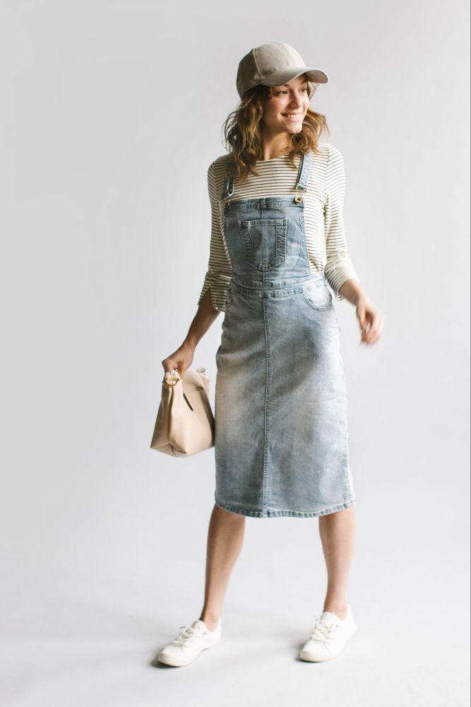 'Emerson' Light Denim Skirt Overalls - The Main Street Exchange