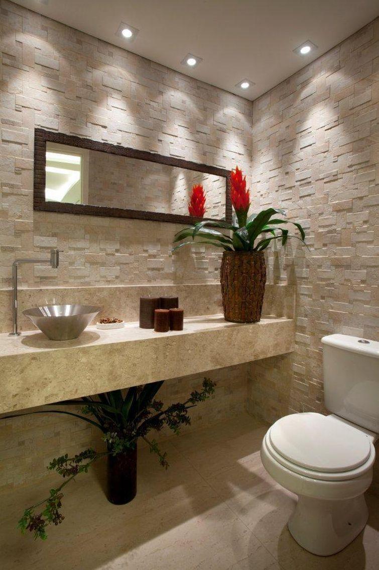 Lavabo pequeno decorado é sinônimo de cômodo cuidado  Lavabo pequeno decorad -> Banheiros Lavabos Simples