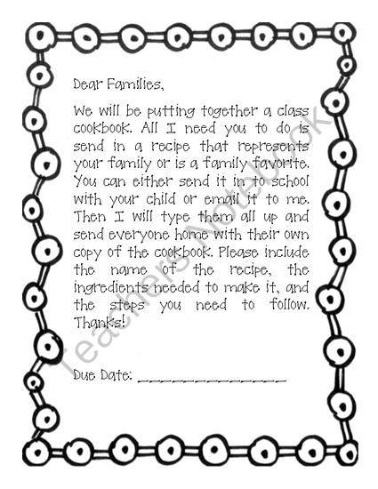 Cookbook Letter from Second Grade Superstars on