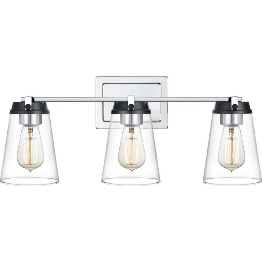 Quoizel Collier 3 Light 22 5 In Chrome And Black Cone Vanity Light At Lowes Com Vanity Lighting Quoizel Light