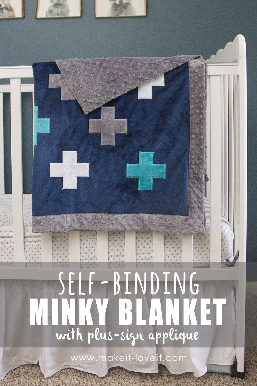 Selfbinding minky blanketuwith a plussign applique make it and