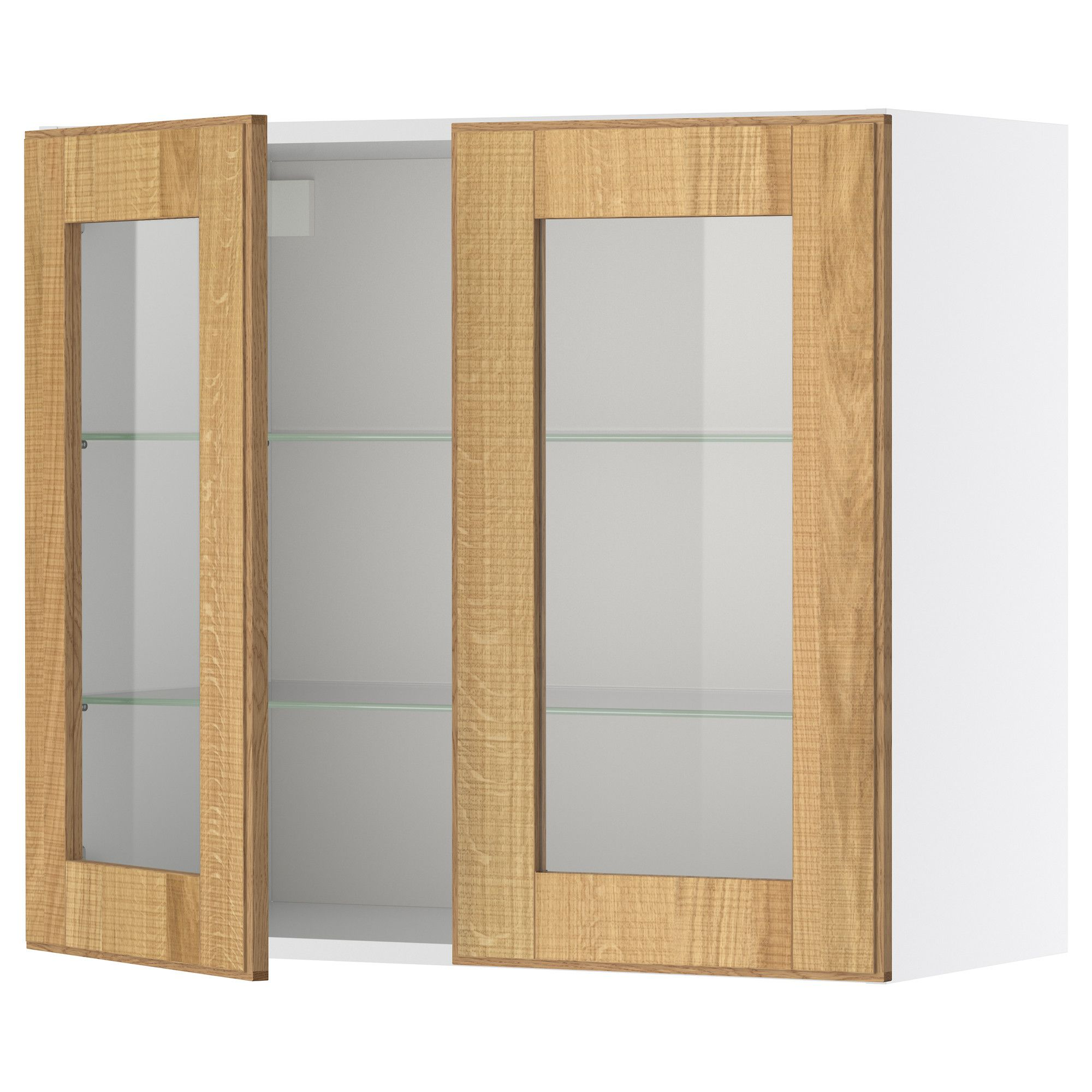 Faktum Wall Cabinet With 2 Glass Doors  Norje Oak,