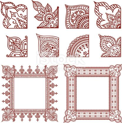 A series of corner designs  plus two finished frames   Inspired by    is part of Henna doodle, Henna designs, Henna art, Henna mandala, Henna, Henna style - A series of corner designs  plus two finished frames   Inspired by the art of mehndi