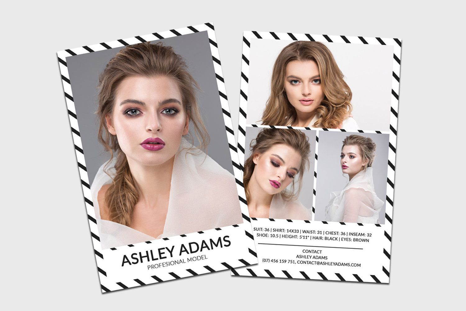 Modeling Comp Card Model Agency Zed Card Photoshop Elements Ms Word Template Modeling Card Instant Download Ht Model Comp Card Card Model Photoshop