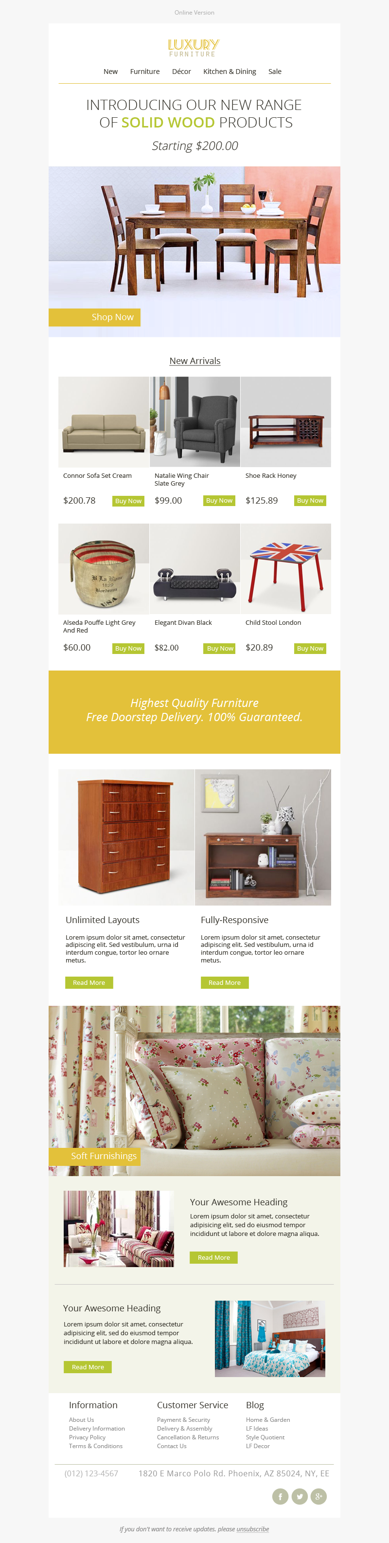 Luxury Furniture Stamplia Builder  Sales  Email Templates