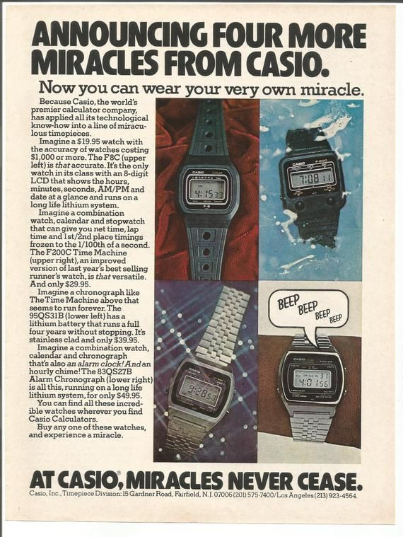 7c64ce32a 1979 Advertisement Casio Digital Watches 4 Models Miracles Never Cease  Alarm Collector 70s 80s Techn