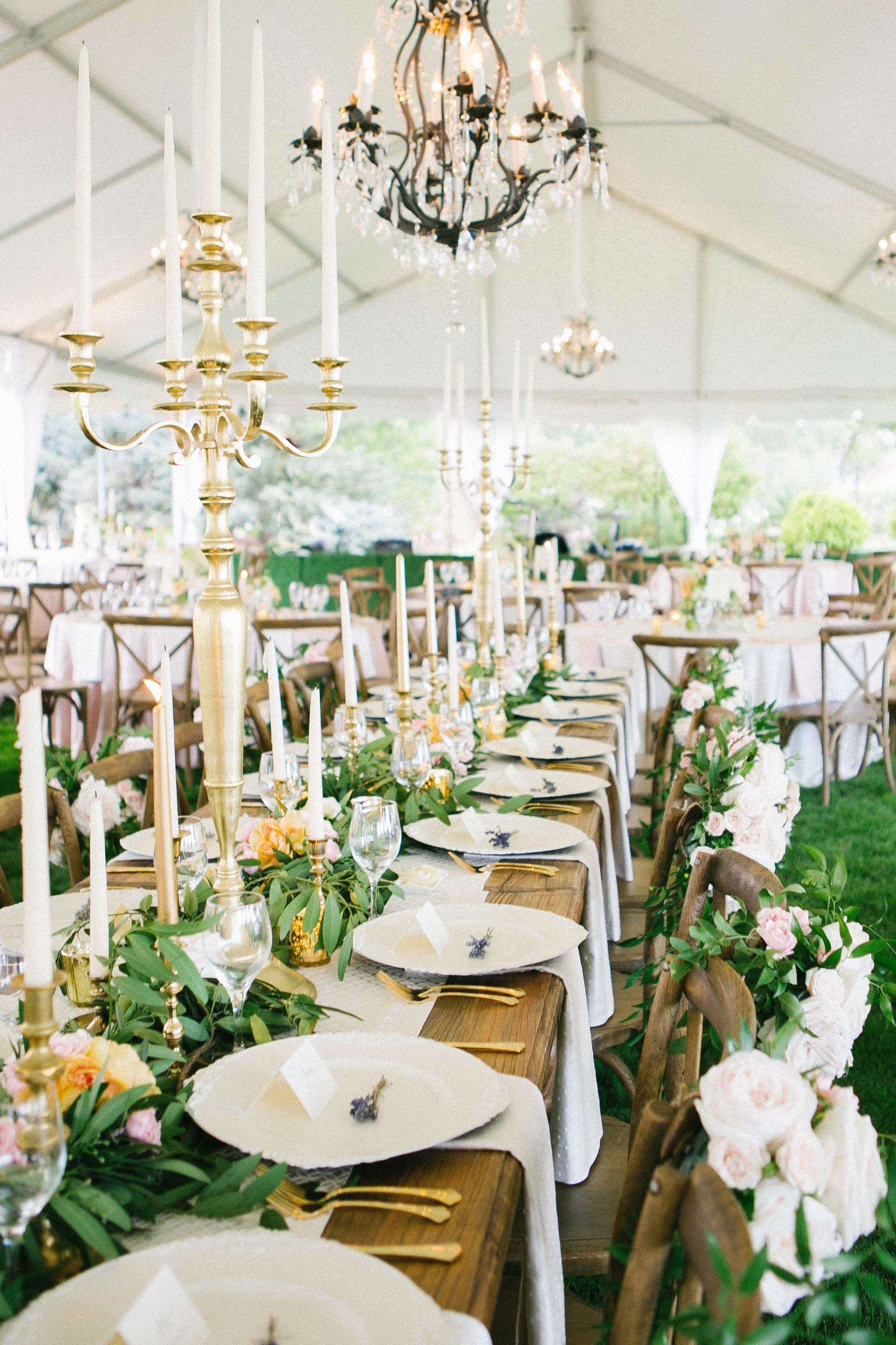 Leafy Garland, Taper Candle Wedding Centerpieces | Secret Garden ...