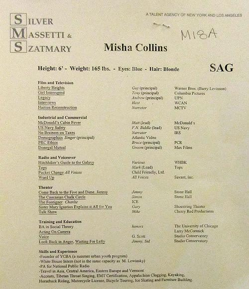 misha and his infamous resume prior to supernatural herp derp