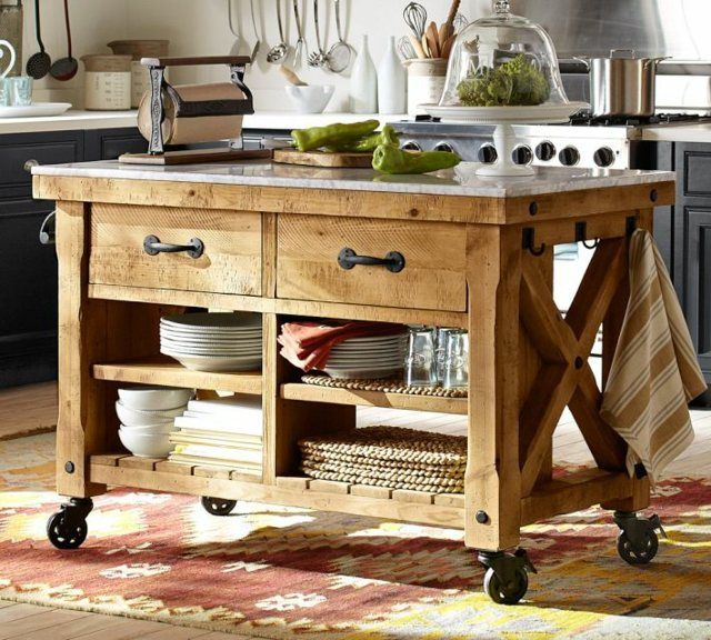 Fabriquer Un Ilot De Cuisine 35 Idees De Design Creatives Marble Top Kitchen Island Wood Kitchen Island Portable Kitchen Island