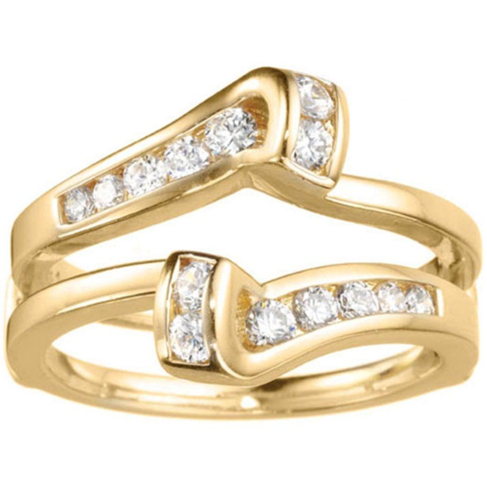 TwoBirch 14k Gold 1/3ct TDW Diamond Classic Bypass Twist-style Jacket Ring Guard