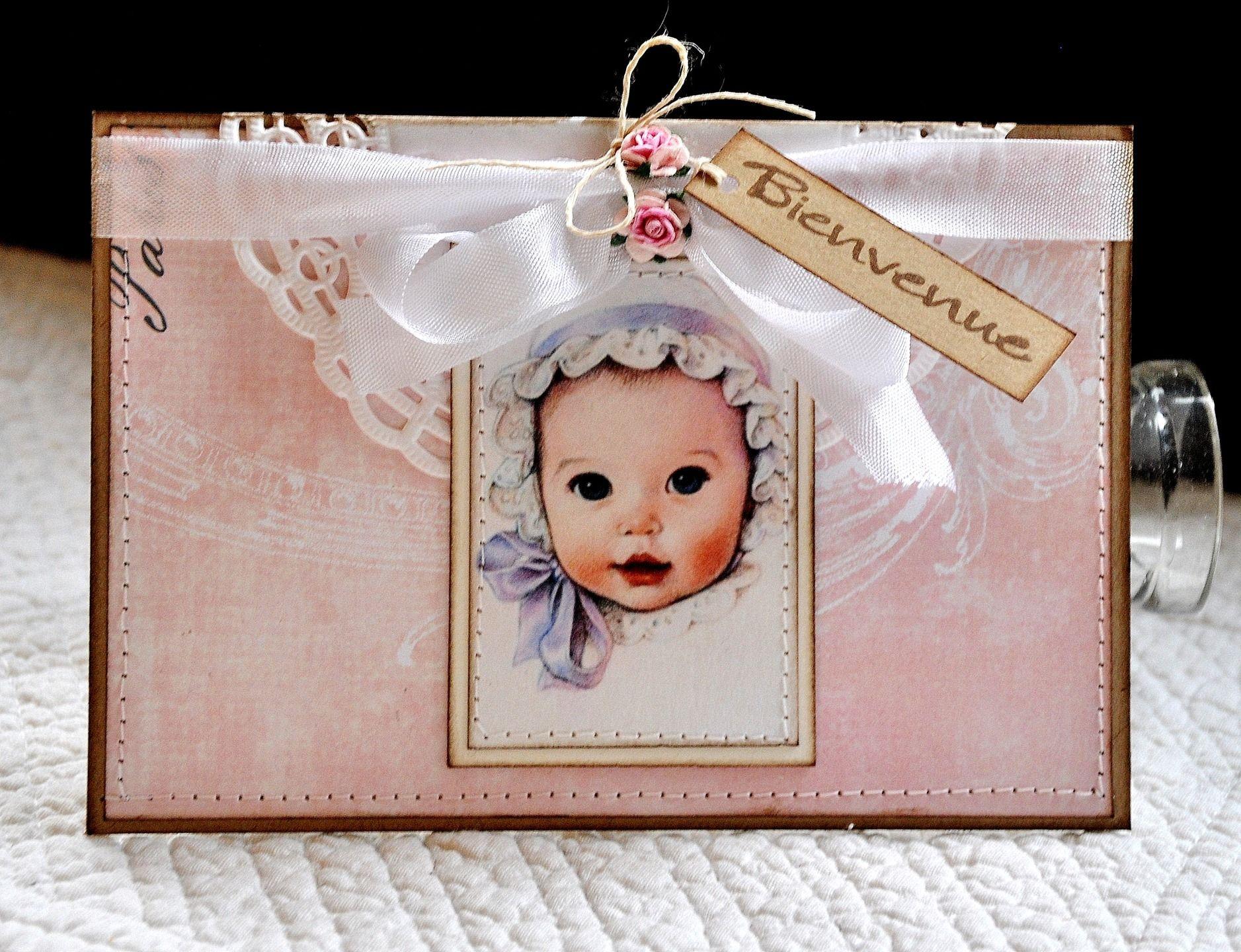 Carte Félicitations Naissance Bébé - rétro/romantique - 10.5 cm x 15 cm : Cartes par pascale-b