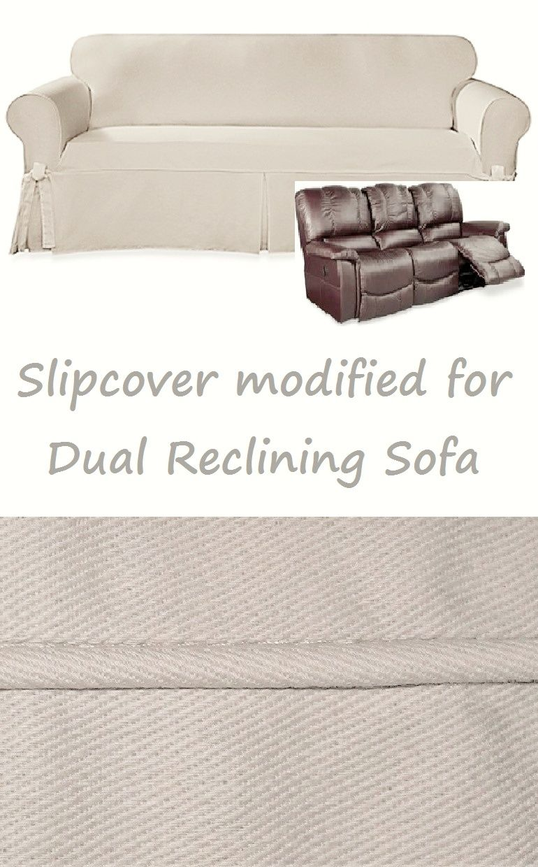 Dual Reclining Sofa Slipcover Farmhouse Twill Cream Sure Fit Couch