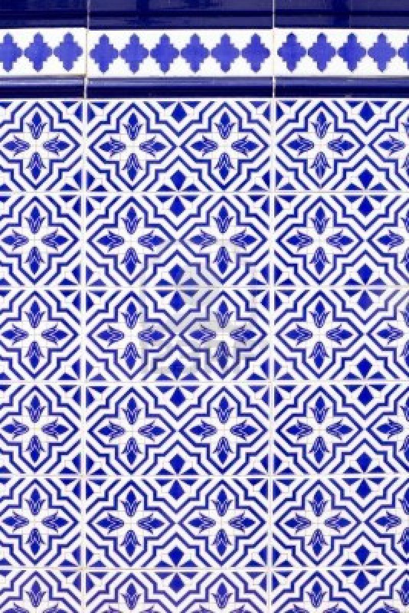 Andalusian style spanish blue ceramic tiles pattern stock for Spanish clay tile