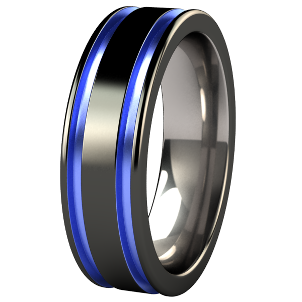 black and blue mens wedding band Abyss Black Diamond Plated