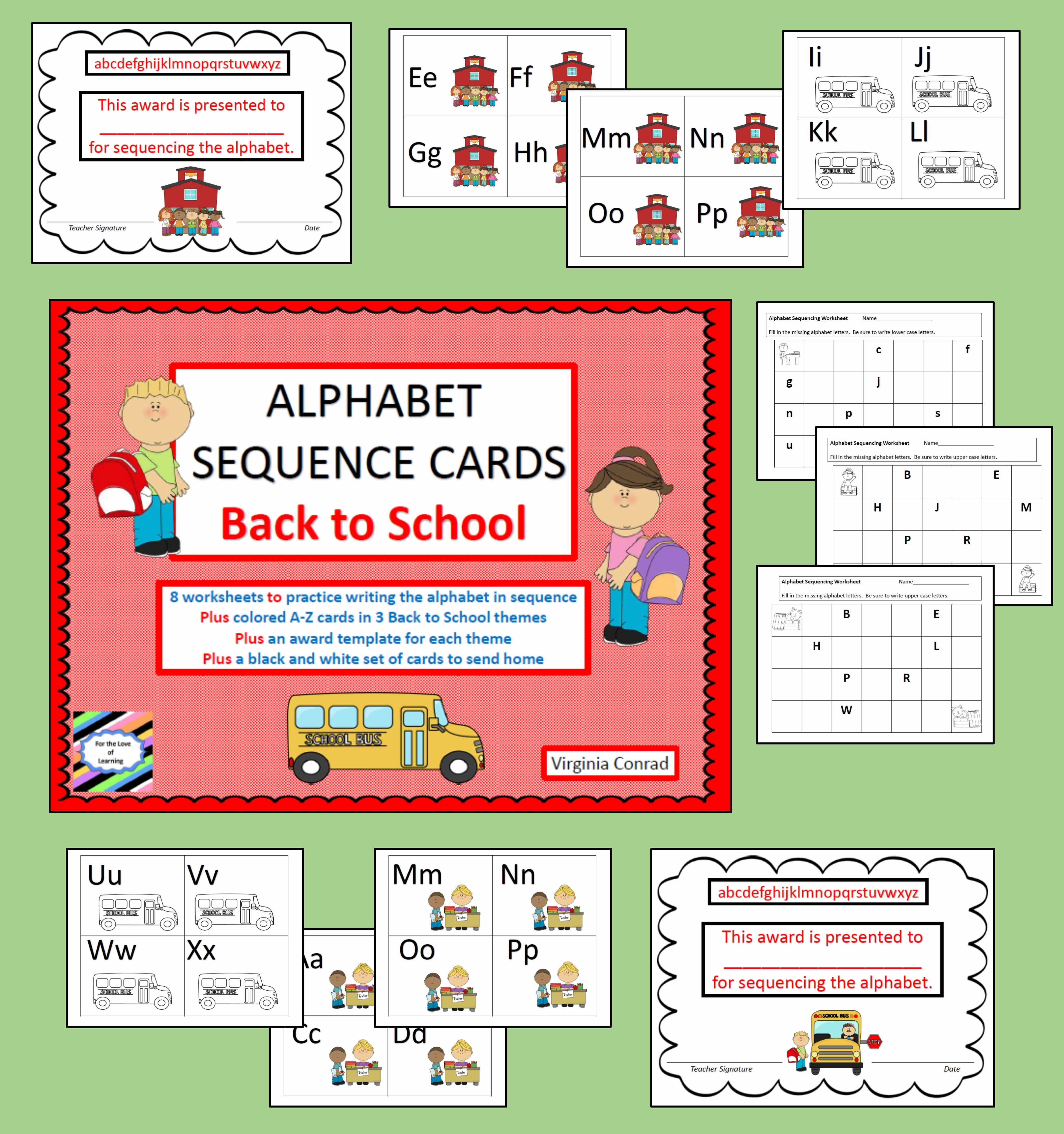 Alphabet Sequencing 3 Sets Of Abc Flashcards Back To