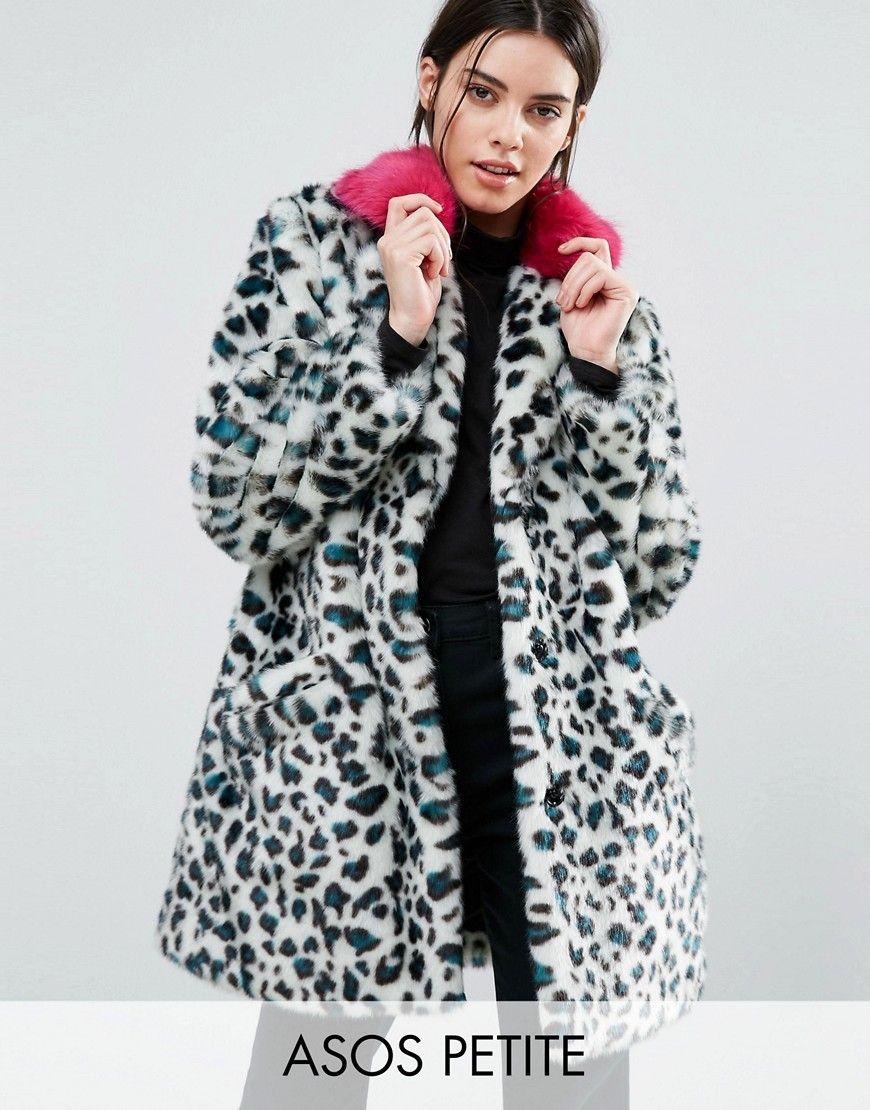 ASOS PETITE Faux Fur Coat in Leopard Print with Bright Collar ...