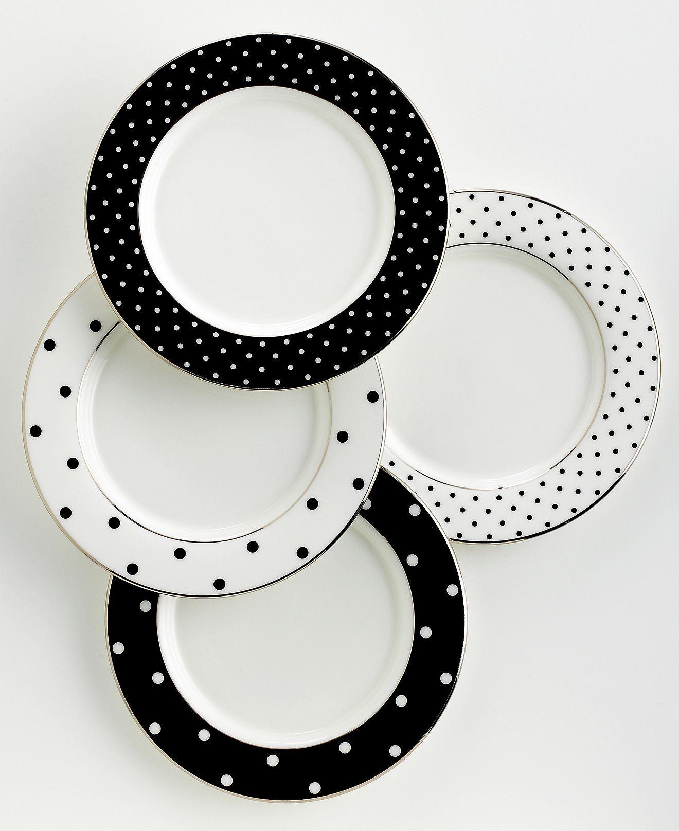 kate spade new york Dinnerware, Set of 4 Larabee Road Polka Dot Tidbit Plates - Fine China - Dining & Entertaining - Macy's