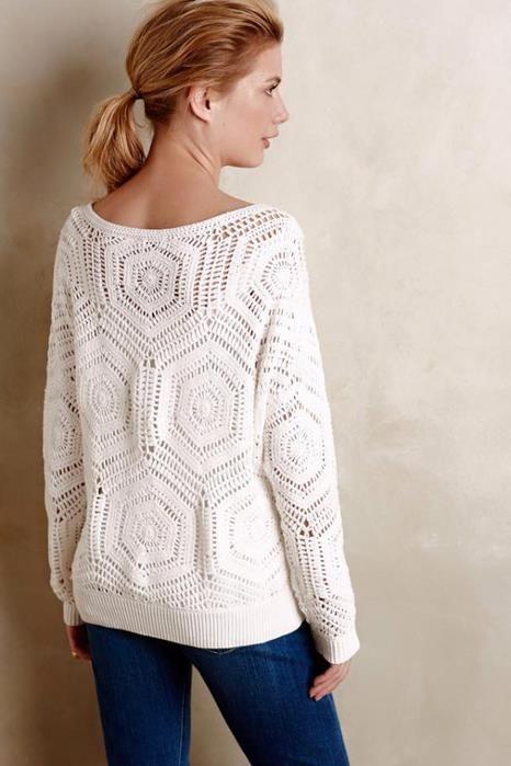 Uma blusa com modelagem ampla e solta..   Toda construída com a união de hexágonos feitos em crochê.              gráfico sugerido clique a...