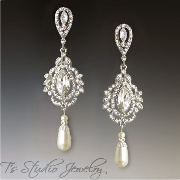 Rhinestone Crystal And Pearl Bridal Chandelier Earrings From T S Studio Jewelry