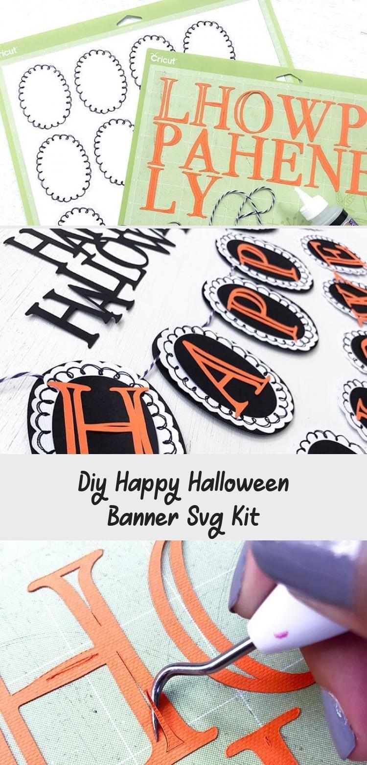 DIY Happy Halloween Banner SVG Kit - 100 Directions #bannerTitulos #Churchbanner #Ribbonbanner #bannerIllustration #Freebanner #happyhalloweenschriftzug