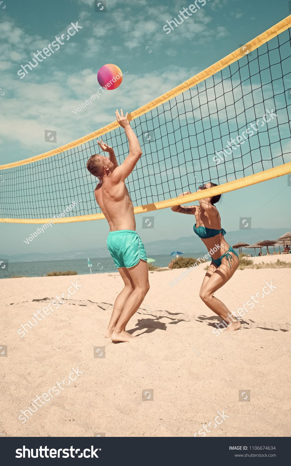 Beach Games Beach Volleyball Concept Couple Have Fun Playing Volleyball Young Sporty Active Couple Beat Off Volley B Beach Games Beach Volleyball Volleyball