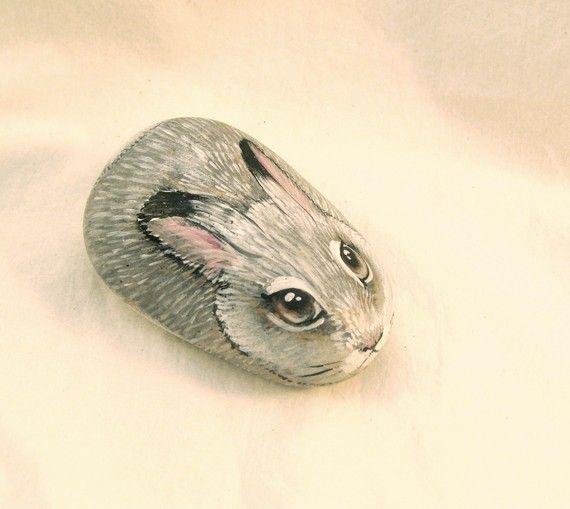 Little Bunny Rabbit hand painted rock