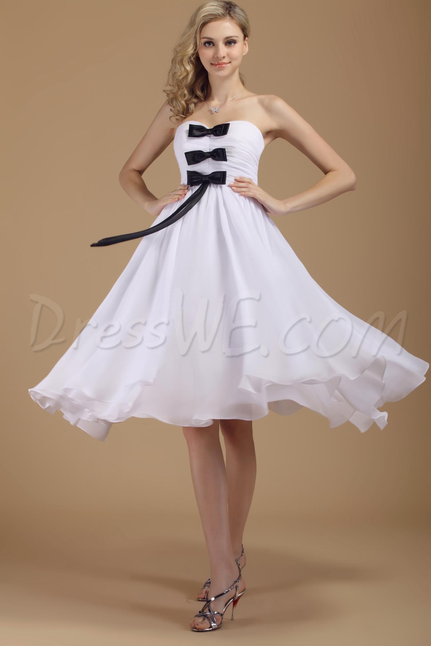 Tea length plus size wedding dresses   Dresswe SUPPLIES Concise Empire Sweetheart TeaLength