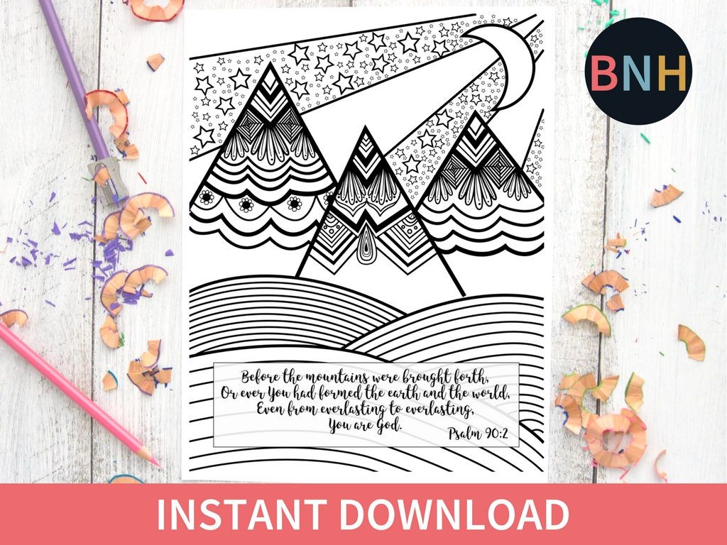 Psalm 90 2 Bible Coloring Page Scripture Coloring Page Mountains