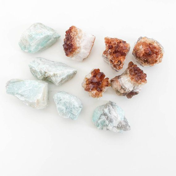 Citrine And Amazonite Crystal Set Raw Citrine Stone Raw