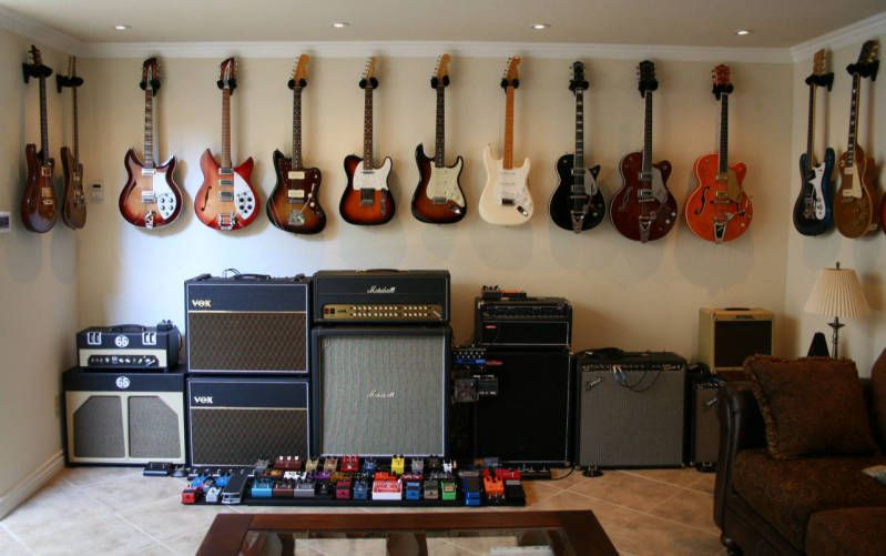 That 39 s a lot of guitars clint and jason 39 s dream room for Guitar bedroom designs