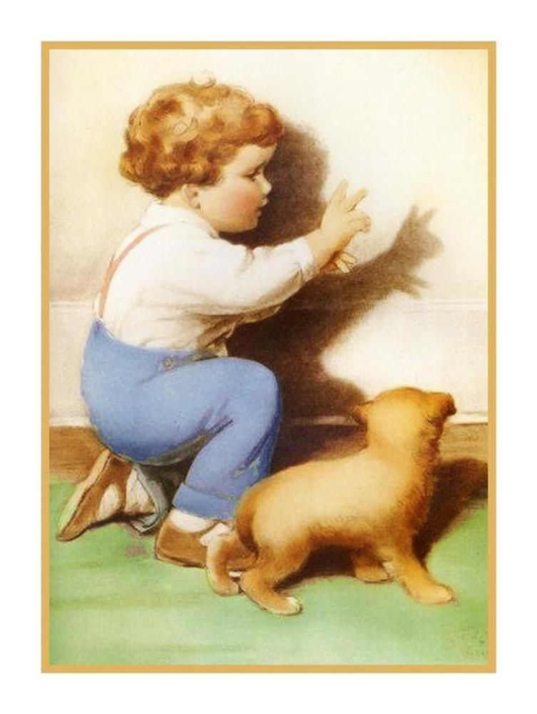 Young Boy Playing with Rabbit  Bessie Pease Gutmann Counted Cross Stitch Pattern