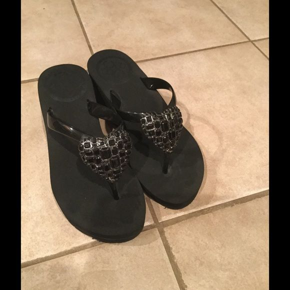 144ec7b0d19 Black flip-flop wedges Rhinestone heart on front. Super cute BCBG Shoes  Sandals